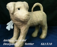 Decopatch papier-mache SA151 hond Terrier  ca.22cm