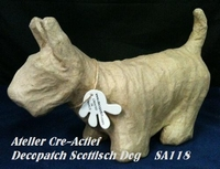 Decopatch papier-mache SA118 hond Scottisch Dog circa 23cm